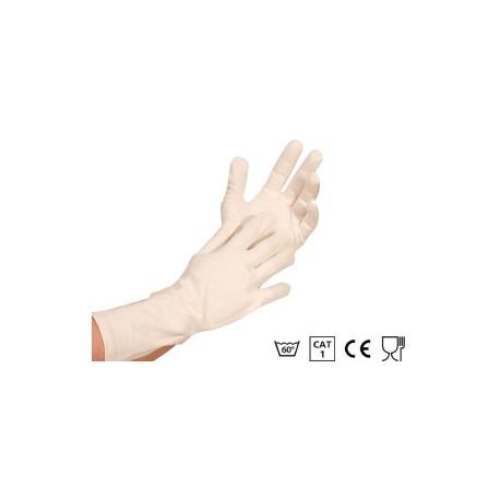 Długie rękawice bawełniane NATURE  35 cm dla pracownika przemysłu spożywczego