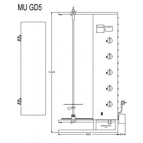 Vertical Toaster Up To 120 Kg Gas Gyros Kebab Grill 17 5 Kw Stainless Potis Mu Gd5 Wamma
