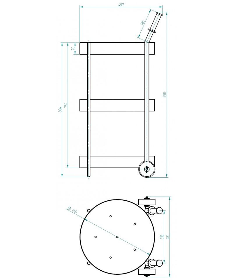 Wózek do transportu i przechowywania kijów wędzarniczych