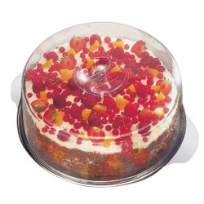 Taca na ciasto ze stali nierdzewnej z dwiema pokrywami z tworzywa sztucznego 30x7/11 cm, APS 00652