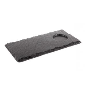 Taca łupkowa z wgłębieniem, podstawka łupkowa, prostokątna, wym. 25x12 cm, APS 00986