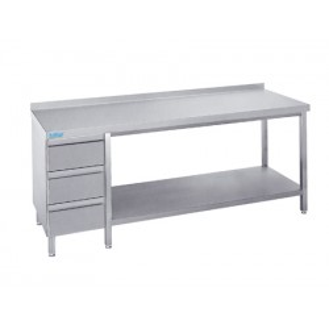Stół do pracy z półką i szufladami, Rilling, z blatem typu C, A oraz bez blatu, ASS 06
