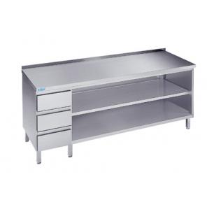 Szafka otwarta z szufladami i półką, Rilling, z blatem typu C, A oraz bez blatu, ASG 06