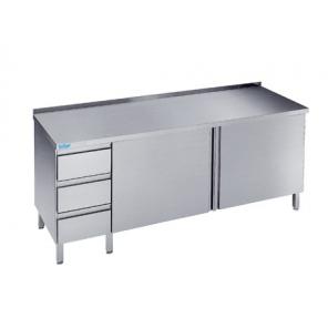 Szafka do pracy z półką, drzwiami skrzydłowymi i szufladami, Rilling, z blatem typu C, A oraz bez blatu, ASF 06