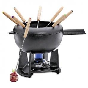 Wiosenny zestaw do fondue Saas-Fee emaliowany czarny mat