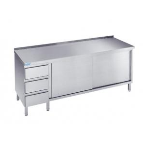 Szafka z szufladami oraz drzwiami przesuwnymi, Rilling, z blatem typu C, A oraz bez blatu, ASS 06