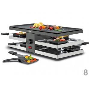 grill Raclette 8 fun z aluminiową, dwustronną płytą czarny