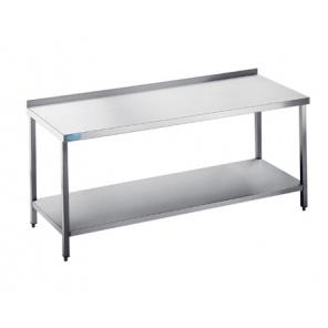 Stół ze stali nierdzewnej do pracy, z półką Rilling, głębokość 700mm, Blat typu C, A oraz bez blatu