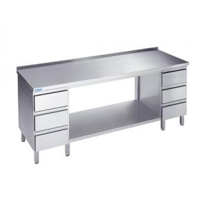 Stół do pracy z półką i szufladami, Rilling, głębokość 700mm, z blatem typu C, A oraz bez blatu, ATZ 07