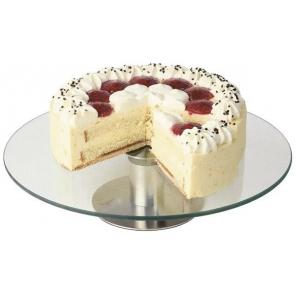 Patera na ciasto z podstawą ze stali nierdzewnej satynowanej i szklanym talerzem 30x7 cm. APS 00444