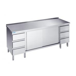 Szafka z szufladami oraz drzwiami przesuwnymi, Rilling, głębokość 700mm, z blatem typu C, A oraz bez blatu, ASS 07