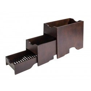 Pojemnik bufetowy, 3-elementowy, drewniany, wym. 40x40 cm, wenge, APS 11607