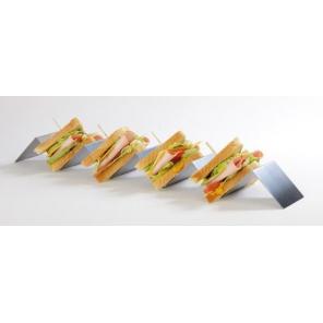 Stojak ekspozycyjny na kanapki z 4 przegrodami ze stali nierdzewnej 56x8 cm, APS 11969