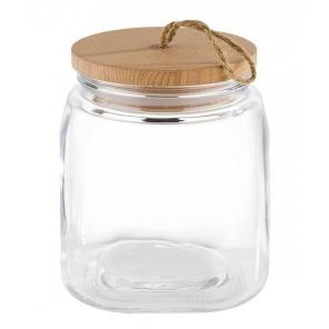 Słój szklany z pokrywką drewnianą WOODY, poj. 1 l, APS 82255