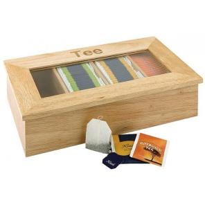 Pudełko na herbatę z drewna z napisem, beżowe 33,5 x 20 cm. APS 11575