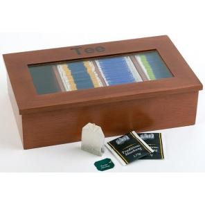 Pudełko na herbatę z drewna z napisem, brązowe 33,5 x 20 cm. APS 11574