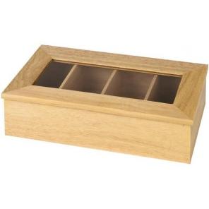 Pudełko na herbatę z drewna bez napisu, beżowe 33,5 x 20 cm. APS 11576
