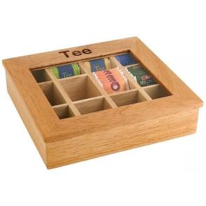 Pudełko na herbatę z drewna z napisem, beżowe 31 x 28 cm. APS 11775