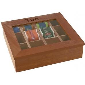Pudełko na herbatę z drewna z napisem, brązowe 31 x 28 cm. APS 11775