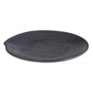 Talerz okrągły DARK WAVE, z melaminy, czarny, śr. 22 cm, APS 84908