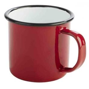 Kubek emaliowany ENAMELWARE czerwono-czarny 0.35 l, APS 40633