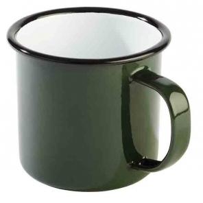 Kubek emaliowany ENAMELWARE zielono - czarny 0.35 l, APS 40634