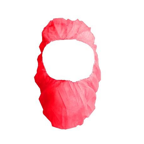 Czepek jednorazowy  BALACLAVA czerwony   / czepek ochronny z polipropylenu